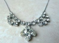Vintage Rhinestone Swag And Drop Necklace